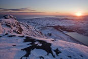 A snow covered view from the Mournes